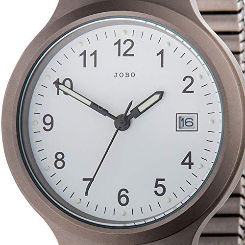 JOBO Herren-Armbanduhr Quarz Analog Titan Mineralglas Flexband