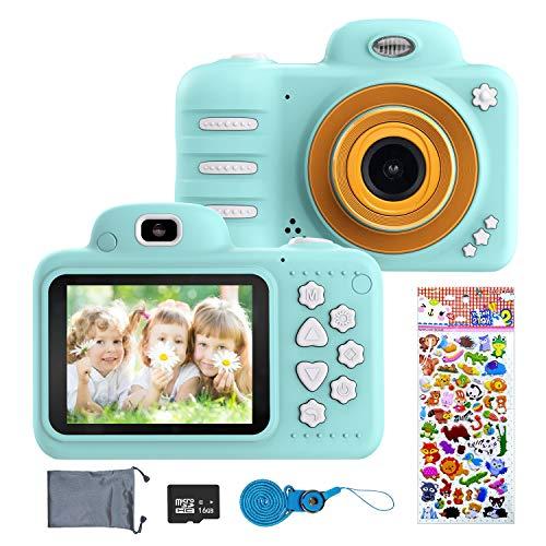ERAY Cámara para niños, Cámara Digital de Fotos & Vídeos, 8MP/ 1080P/ IPS Pantalla de 2.4 Pulgadas/ 16 GB SD Tarjeta/ 4X Zoom/ Múltiples Modos/ Apagado Automático, Juguete para 3-10 Años, Azul