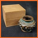 茶道具銘入り 夜学蓋置 葡萄 共箱付き 銅 蓋置 ぶどうモチーフ 煎茶道具 茶道道具
