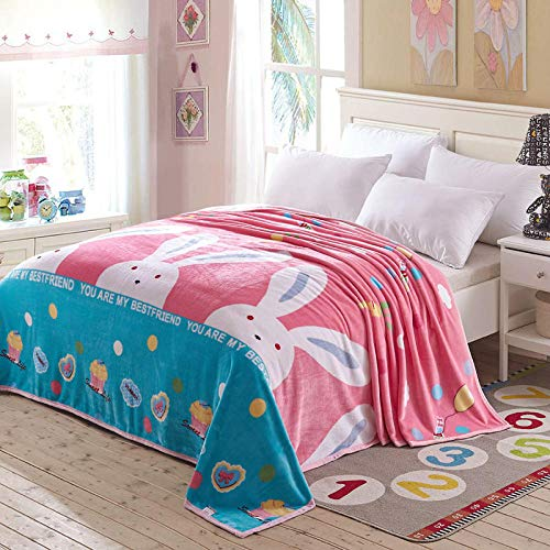 PengMu zachte sofadeken/sprei coral fleece blad roze konijntje onderhoudsvriendelijk super warme deken