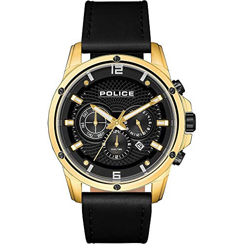 Police Unisex Erwachsene Analog Quarz Uhr mit Leder Armband PL15525JSG.02