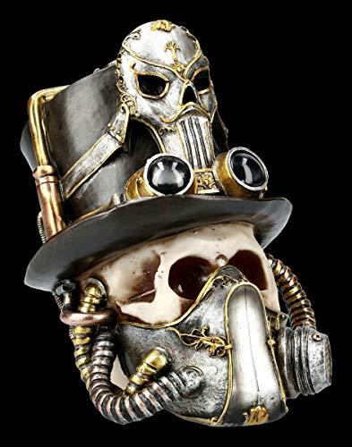 Figuren Shop GmbH Steampunk Totenkopf - Breath Easy | Fantasy Skull, Toten-Schädel, Dekofigur, Statue, Skulptur, H 20 cm