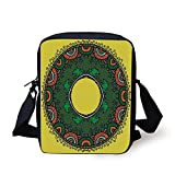 Yellow Mandala,Ring Shaped Mandala in Childish Style with Forest and Foxes Nature Doodle...