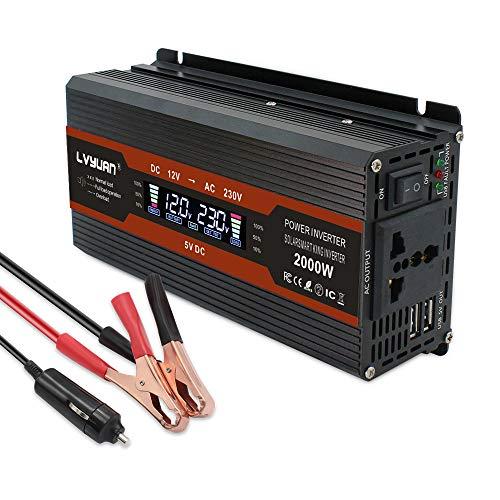 Cantonape Spannungswandler 12v 230v / 1000W Wechselrichter/ Stromwandler 12 auf 230 Inverter/mit LCD-Display Universal Steckdose und 2 USB Anschlüsse inkl. Kfz Zigarettenanzünder Stecke