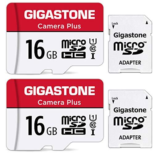 Gigastone Scheda di Memoria Micro SDHC da 16 GB con 2 Schede, Telecamera Plus Serie, U1 C10 UHS-1, Velocità Fino a 85/15 MB/Sec(R/W). Compatibile con GoPro Fotocamere Videocamere, con Adattatore SD