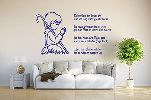 INDIGOS UG - Wall sticker / Wall Tattoo / Decoration - Children's Prayer - blue - 80x43 cm
