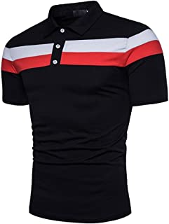 84186d438 Mens Polo Shirts, Summer Fashion Personality Casual Slim Short Sleeve  Patchwork