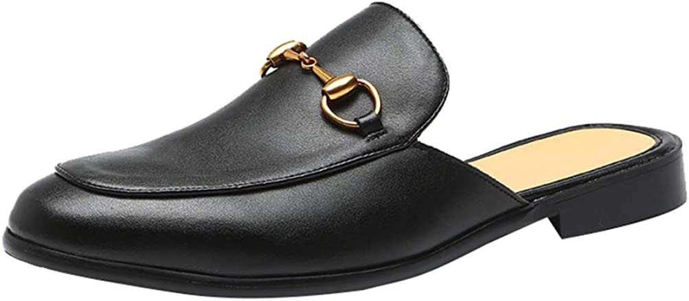 HYJ Men's Mule Loafers Slippers House/Office Slip On Sandals Leather Casual Loafers Backless Size 7-13