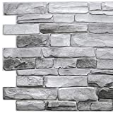 Dundee Deco GRAZPG7117-10 Grey Faux Stone PVC 3D Wall Panel, 3.2 ft X 1.6 ft (98cm X 50cm), Interior Design Wall Paneling Decor, 5.3 sq. ft. (0.49 sq. m) Each, Pack of 10