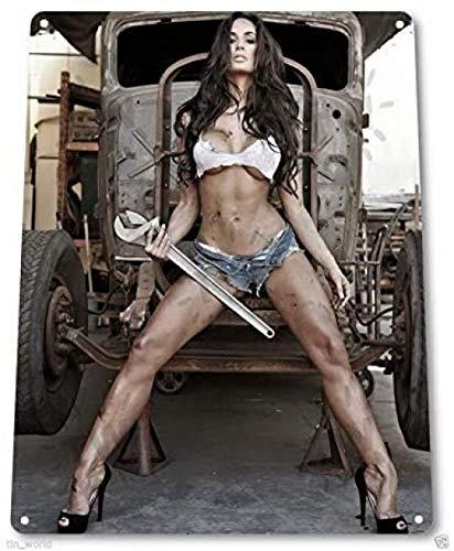 Big Wrench Sexy Gir Lcar Auto Garage Vintage Retro Zinn Zeichen Metall Poster Dekor Wandkunst Figur Foto Für Zuhause Wohnzimmer Bild 40x60cm Kein Rahmen