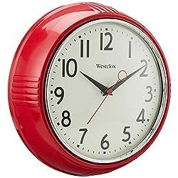 Westclox Retro 1950 Kitchen Wall Clock, 9.5-Inch, Red