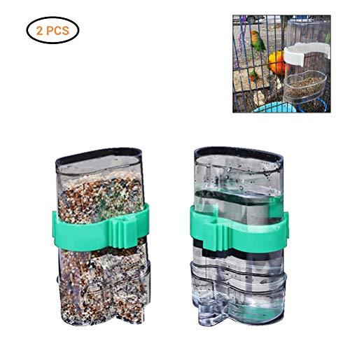 Hihey Vogelvoerdispenser, vogelhuisje, vogelhuisje, vogelhuisje, waterdispenser, doorzichtig, waterkopjes, 2 stuks