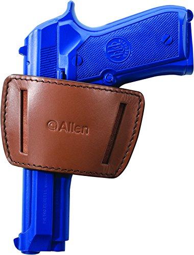 Allen Company Glenwood Leather Belt Slide Gun Holster, Ambidextrous, Med/Large Frame Semi-Auto Handguns, Colt 1911, Beretta 92, PX4, Vertec, Glock 17, 19, 21, 26, 30, 36, & Ruger P89, Brown