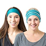 RiptGear Wide Headbands for Women (2 Pack) Workout Headbands for Yoga Running and Gym - Cute Thick Non-Slip Sweatbands - Teal Solid and Teal Striped