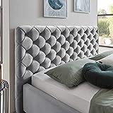 Designer Bett mit Bettkasten ELSA Samt-Stoff Polsterbett Lattenrost Doppelbett Stauraum Holzfuß schwarz (Grau, 180 x 200 cm) - 3