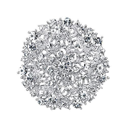 EVER FAITH Broche de boda elegante para mujer, diseño de ramillete de cristal, redondo, hueco, floral, tono plateado