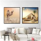 HANSHUIHONG Druck auf Leinwand Kamele Poster Ägypten