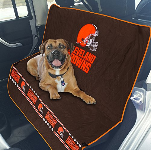Pets First NFL CAR SEAT Cover - Cleveland Browns Waterproof, Non-Slip Best Football Licensed PET SEAT Cover for Dogs & Cats.