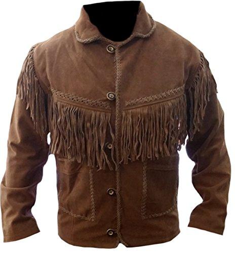 Classyak Chaqueta de cuero de ante con flecos para hombre Western Cowboy