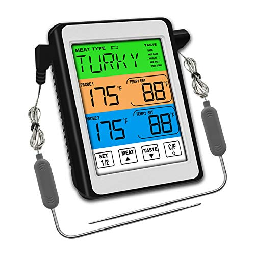 Digital Meat Thermometer Instant Read,LCD Backlight Food Grill Thermometer for Oven BBQ Grill Kitchen Smoker Poultry Fish Cooking with 2 Probes and Timer | Best Taste Results