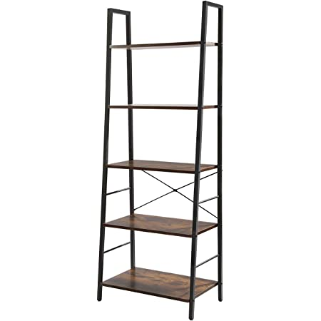 YMYNY Ladder Shelf Balcony UHTMJ017H Industrial 5-Tier Bookshelf Free Standing Plant Flower Storage Rack for Bathroom Rustic Brown Wood Look Accent Metal Frame Living Room