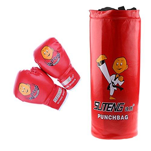 MagiDeal Boxsack Set Gefüllt Kickboxen MMA Kampfsport Handschuhe Gepolstert - ideal für Jungen und Mädchen (Alter 3-12) - Rot