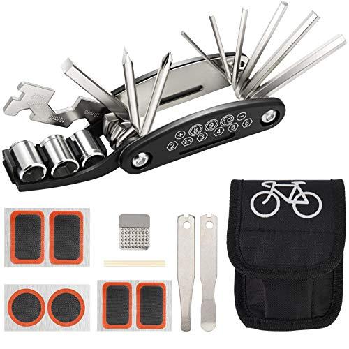 Bicicleta Reparacion Herramientas Portátil Multifunción 16 en 1 Kit de Herramientas para Bicicleta con Kit de Parche y Palancas kit Repara Pinchazos Bicicleta Negro
