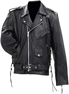 Solid Genuine Cowhide Leather Classic Motorcycle Jacket Sixe Large