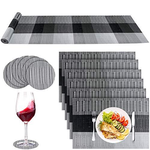 Tischset mit 6 Platzsets + 6 Untersetzern + 1 Tischläufer, rutschfeste Platzsets und Untersetzer-Sets 6, kreuzgewebtes Vinyl, waschbar, Tischsets für Esszimmer, Küche, Restaurant, Tisch (schwarz)