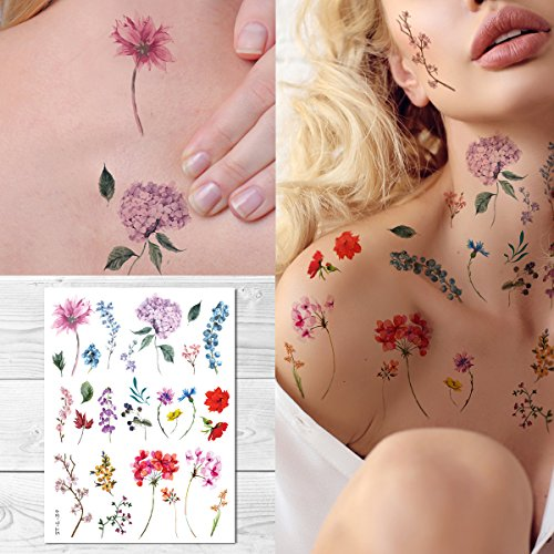 Supperb Temporary Tattoos - Watercolor style Handrawn painted flowers floral wildflowers branches leaf herbs Tattoo