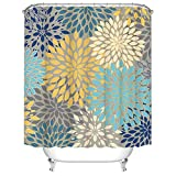 RyounoArt Dahlia Pinnata Flower Shower Curtain Gray Yellow Teal Blue Mandala Decor Bathroom Curtain Waterproof Polyester Fabric 72'×72'