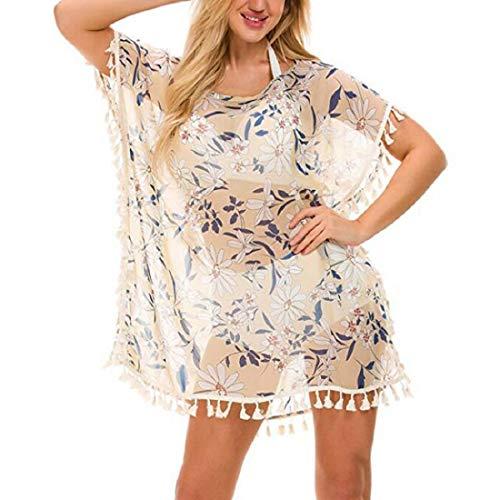 Voqeen Mujer Camisola de Playa Borla Verano Vestido Corto Ropa de Baño Vestido Cubrir Blusa Suelto Floral Pareos Bikini Cover Up Playa Traje de Baño (Albaricoque)