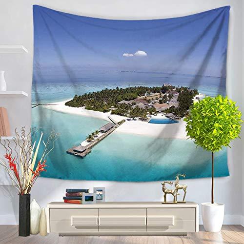 DBSUFV Tapiz de moda con patrón de playa de la isla, tapiz decorativo para colgar en la pared, decoración del hogar, manta de Picnic, toalla de playa, cortinas de cama