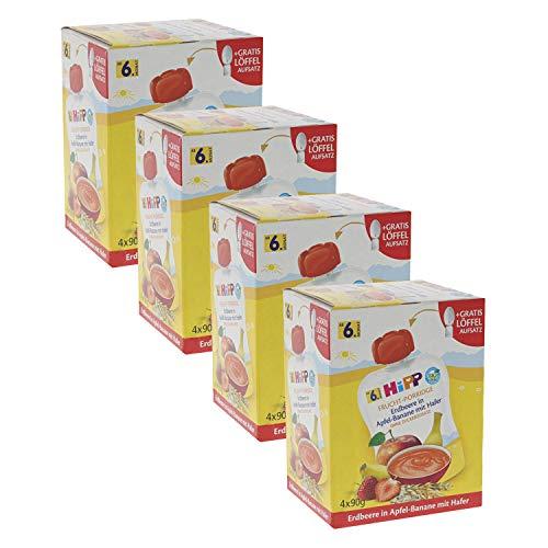 HiPP Quetschbeutel für Babys, Frucht-Porridge, Erdbeere in Apfel-Banane mit Hafer, 100% Bio-Früchte ohne Zuckerzusatz, 4 x 4 Beutel à 90 g