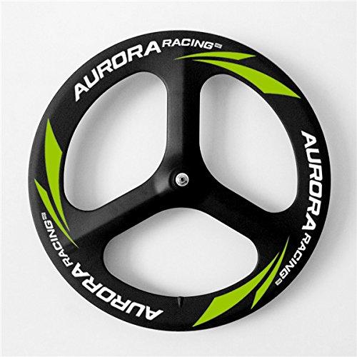 Aurora Racing 70mm 3K carrera de pista 3habló ruedas para bicicleta 700C Tubular de carbono bicicleta ruedas, Track Front+Rear Wheels