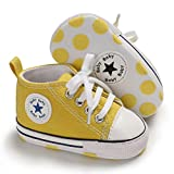 Tutoo Baby Boys Girls Shoes Canvas Toddler Sneaker Soft Anti Slip Sole Star High Top Ankle Infant First Walkers Crib Shoes for 3-18 Months Candy Colors Shoes Yellow