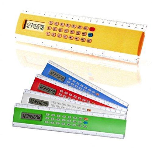 DISOK Lote de 10 Reglas Calculadora - Pila Botón Incluidas - Reglas con Calculadoras, Infantiles, Niños, Colegios. Regalos para niños, cumpleaños, graduaciones, comuniones y Bodas Invitados niños
