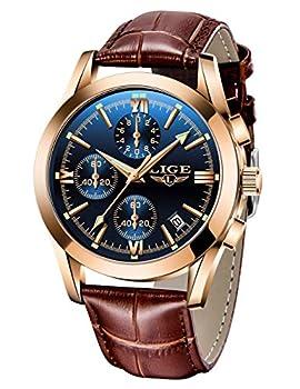 Men Watches Business Casual Leather Quartz Analog Waterproof Watch Gents Luxury Brand LIGE Watch Sport Chronograph Blue Business Dress Wristwatch Men
