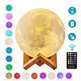 Moon Lamp, DTOETKD 4.72-inch 3D Moon Lamps Night Light 16 Colors with Timing, Stand & Remote & Touch Control and USB Charging, Cool Gifts for Kids/Friends/Lover