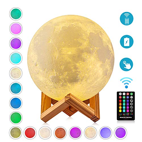Moon Lamp Night Light,Rechargeable Timing Moon Lights 3D Printed 16 Colors with Stand & Remote & Touch Control and USB Charging (Diameter 4.72 inch),Cool Gifts Idea for Lover/Friends