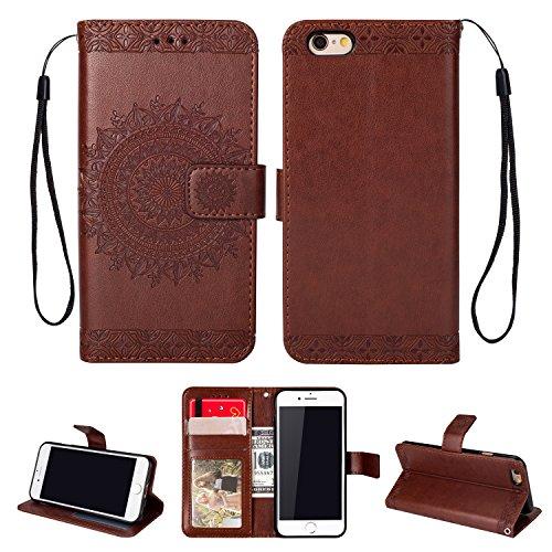 Yobby Leder Brieftasche Hülle für iPhone 6, iPhone 6S Braun Handyhülle Geprägt Mandala Muster Schlank Premium PU Flipcase [Magnetverschluss] mit Kartenfach Handschlaufe Stand Schutzhülle