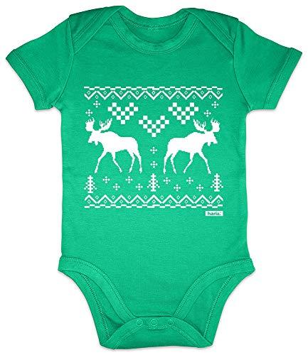 Hariz - Body de manga corta para bebé con dos renos, alce y Navidad, regalo de Navidad, árbol de Navidad, incluye tarjeta de regalo con rana, color verde