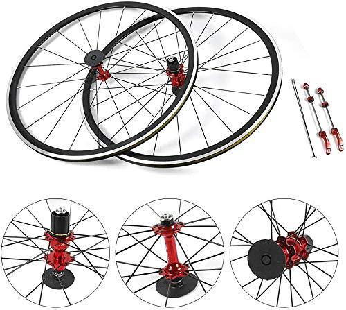 Gdrasuya10 700C Road Bike Wheelset, Road Bike Bicycle Front Rear Wheel Aluminum Hub Brake C/V for 7/8/9/10/11 Speed Freewheel (Wheel Set Front & Rear)