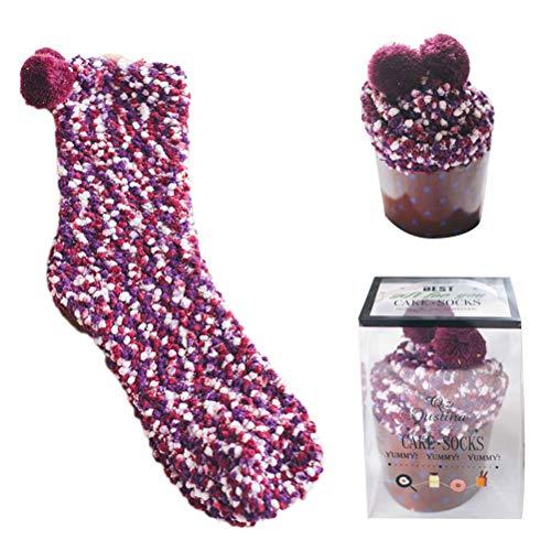Suszian Warme Damen-Frauen-Socken, Art- und Weisecupcakes-Bett-Socken-Winter-korallenroter Samt-flaumige warme Fußbodensocken für Mädchen-Frauen-Familien-täglichen Gebrauch und Geschenk