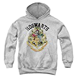 Harry Potter Hogwarts Crest Unisex Youth Pull-Over Hoodie, Athletic Heather, Large