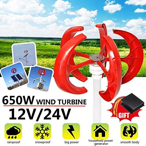 650W AC turbina de Viento de la Linterna 5 de la Hoja de 12V 24V Eje Vertical Motor electromagnético para el hogar híbrido Poste de la lámpara Uso,24V