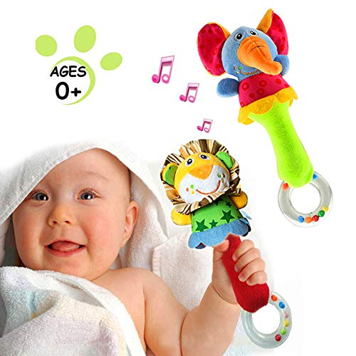 CHAFIN Baby Soft Rattles Shaker  Infant Developmental Hand Grip Baby Toys  Cute Stuffed Animal with Sound for 3 6 9 12 Months and Newborn Gift2 Pack