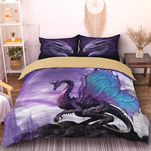 Flying Dragon Duvet Cover with 2 Pillowcases 3D Printed Dragon Bedding Set with Zipper Closure Soft Microfiber Double Duvet Cover Set 200 x 200cm(Purple,Brown)