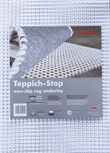 andiamo Teppich-Stop Antirutschmatte Teppichgleitschutz Teppichunterlage Haftgitter Rutschschutz, PVC beschichtetes Polyester, rutschhemmend zuschneidbar pflegeleicht strapazierfähig, weiß,80x150cm