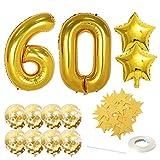 globos de cumpleaños numeros,Globo de Número,Globo gigante número,Foil Globo Número kit,Foil Globos Numeros Gigantes,Grande Globos para La Boda Aniversario,Globo de aluminio con número (60)